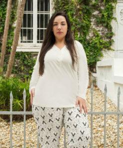 Pijama Plus Size Botão com Calça