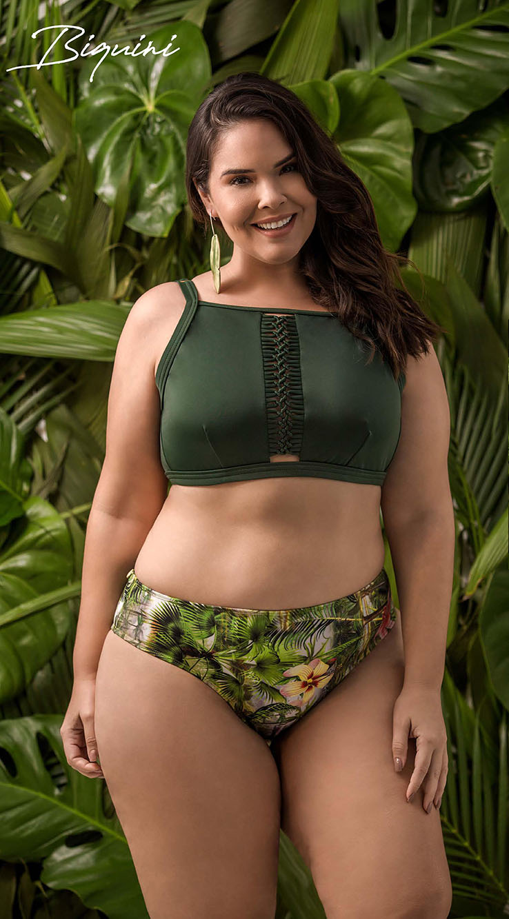 Biquíni Croped Plus Size Liso
