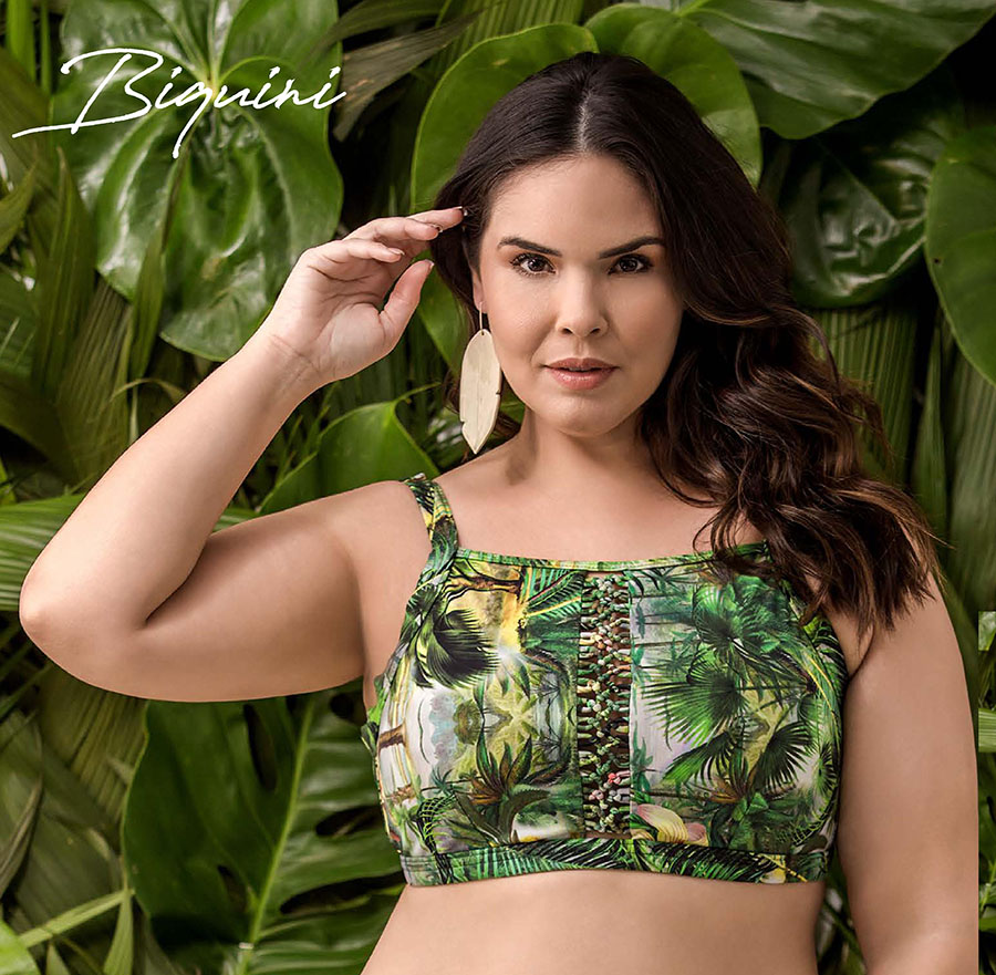Biquíni Croped Plus Size Estampado