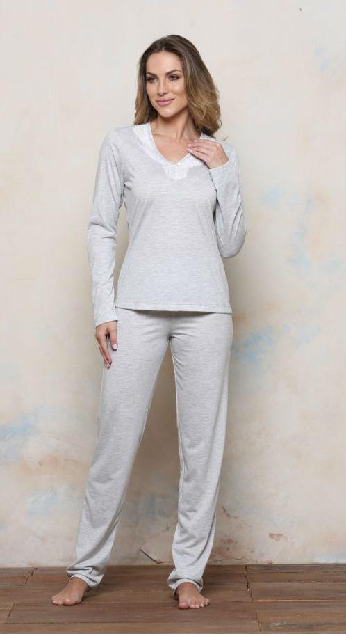 Pijama Plus Size Longo Malha PV Renda